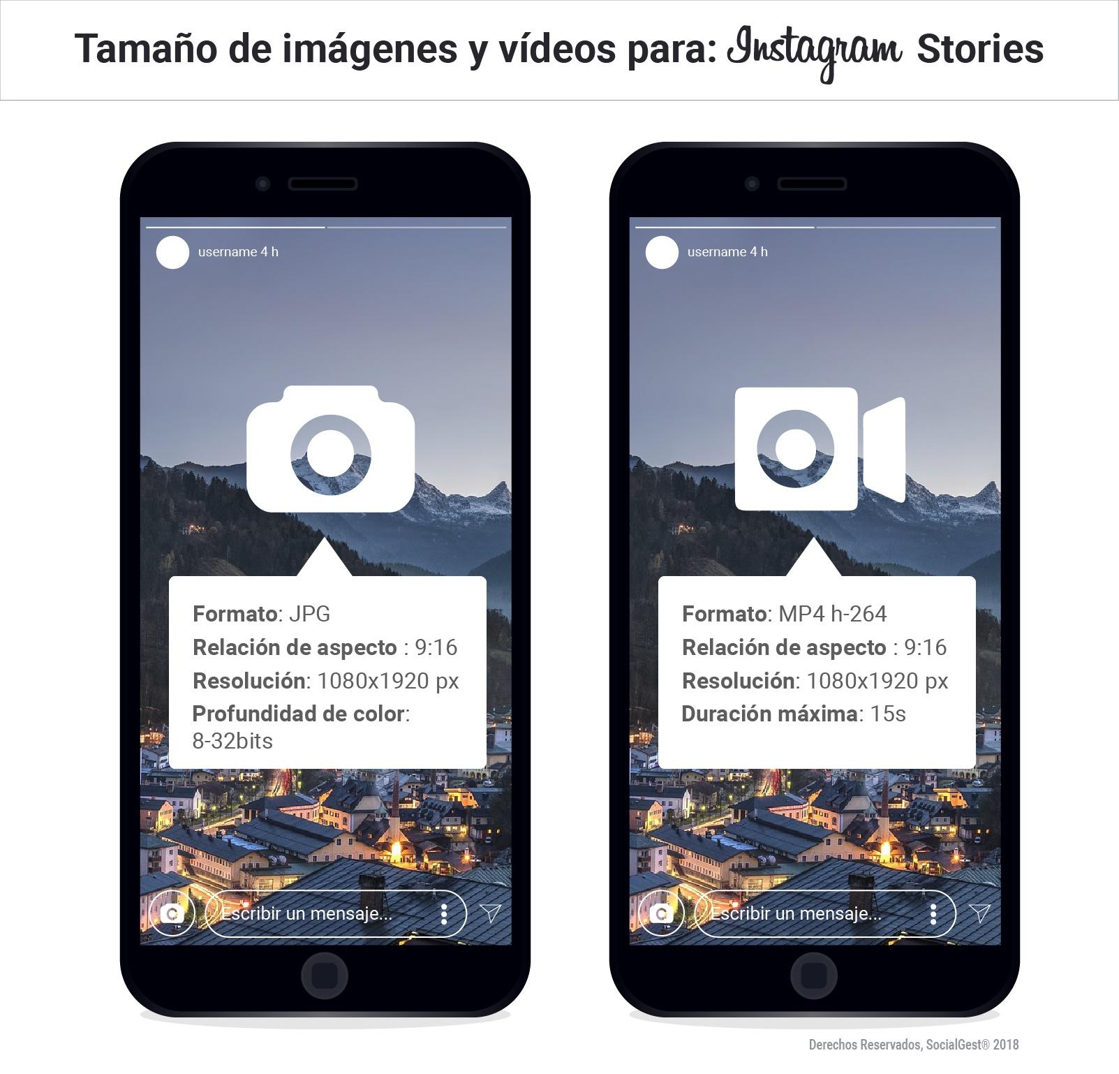 tamaño stories instagram