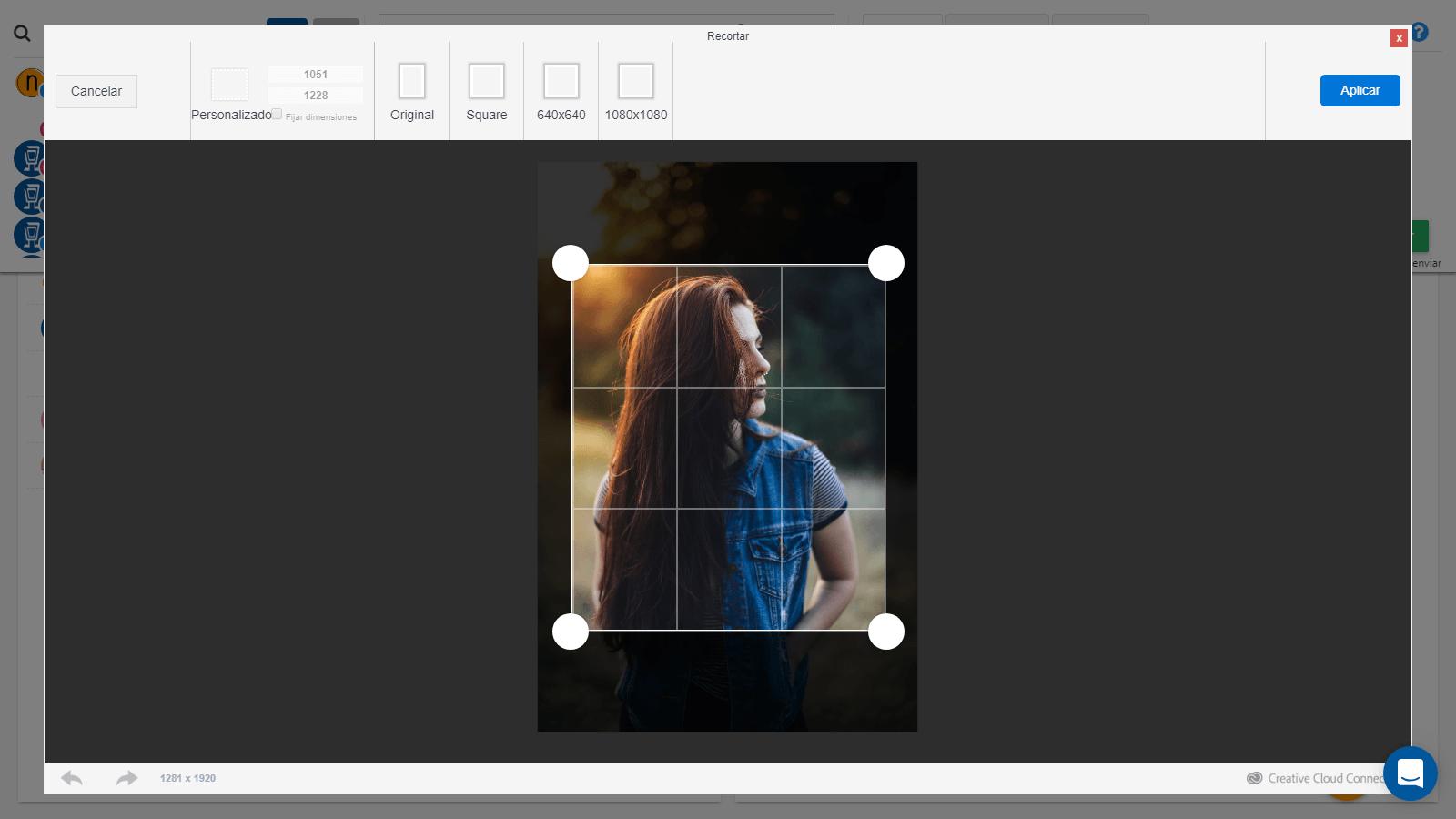 Recortar imagenes con socialgest