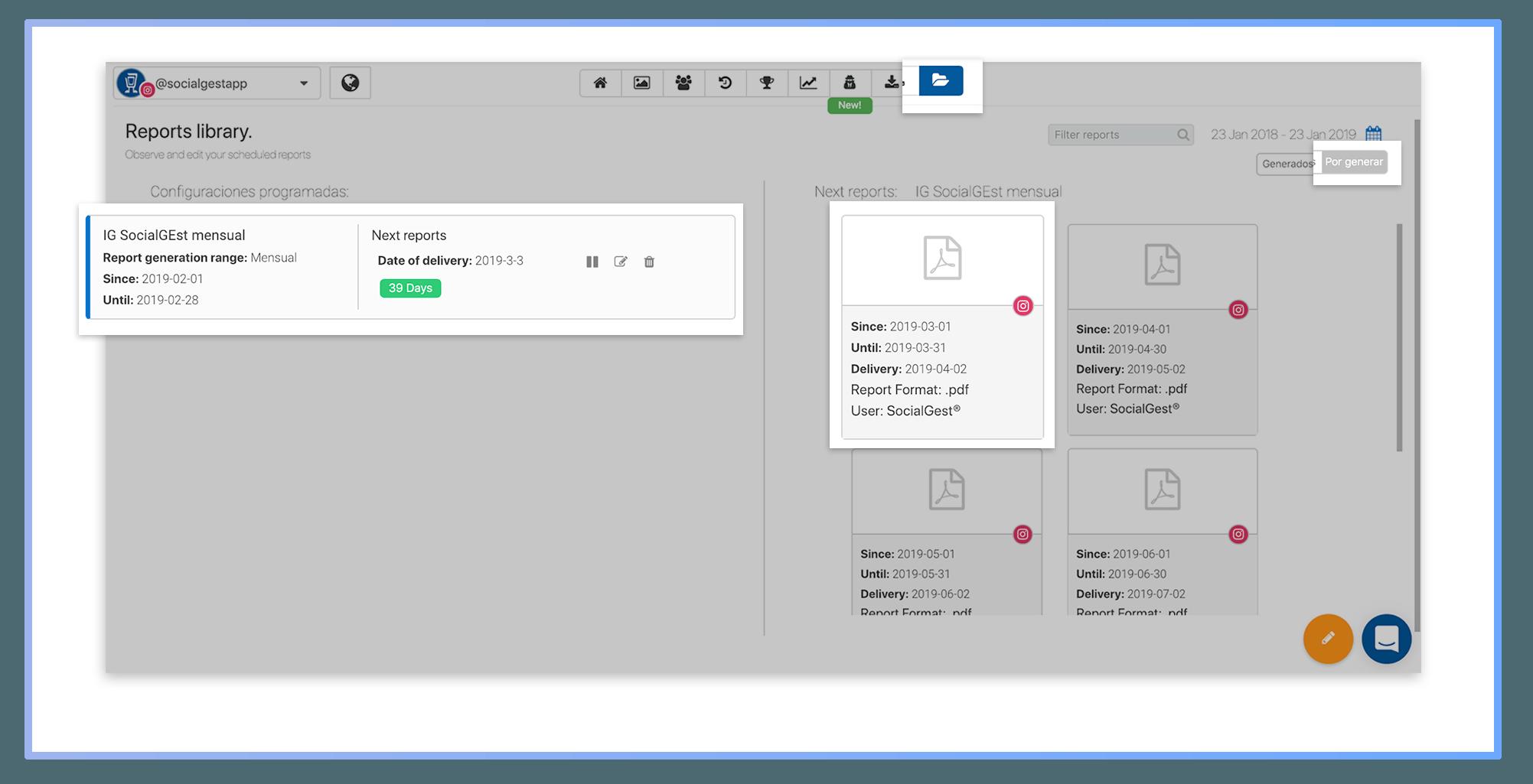 informes PDF personalizados y programados de redes sociales